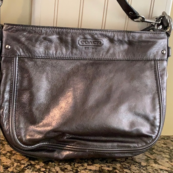 Coach Handbags - COACH Zoe Gunmetal Metallic Leather Purse F14707